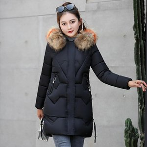 2021 Winter Korean Style Of The New Womans Long Section Slim Large Fur Collar Down Cotton Padded Womens Jacket