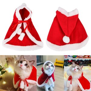Christmas Cat Puppy Santa Hat Cloak Pet Cosplay Costume Xmas Kitten Red Caps Clothing Clothes Funny Party Dog Mantle Dress Up