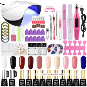 COSCELIA UV Nail Set UV LED Lamp Dryer With Nail Gel Polish Kit Soak Off Manicure Tools Set Electric Drill Tools