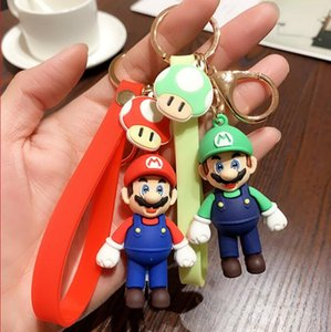 2021 Classic Cartoon Super Mario Bros Figure With Keychain Mario Luigi Yoshi Peach Goomba PVC Lovely Best Christmas Couples Gift Hot