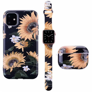 For iPhone 12 mini 11 Pro X XS MAX XR 7 8 Plus Fashion Flower Pattern Case Watch Band Strap 38 40 42 44 Earphone for Airpods Pro Case