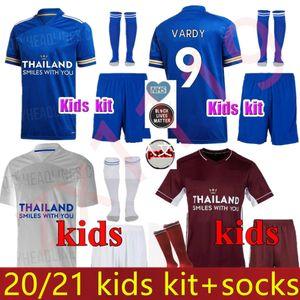 Kids Kit 2020 2021 Leicester Soccer Jersey 20 21 Vardy Iheanacho Maddison Grey Morgan Maguise Dele Son 20 21 Футбольная рубашка Ndombele Униформа