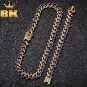 BLING KING NE + BA Bijoux Colliers Bracelets 15mm Fashion Ifed Out Sortie 2 rangées Chaînes de liaison Cuban pour hommes Femmes Q1121