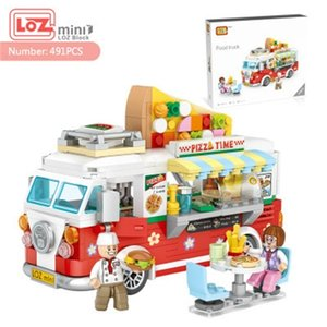 LOZ Mini Blocks City Series Street view 491pcs+ FOOD truck fruit icecream shop learning Assemble Toys 1739 Z1201