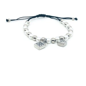 Fashion Women Men Silver Color Gold Stainless Steel Roud Ball Bead Heart key UNO de50 Lock Weave Black Rope Bracelet Jewelry