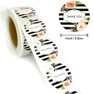 500pcs roll Circular Fashion Thank You Stickers Handmade Sticker Circle Stationery Thank You for Your Order Seal Labels Sticker