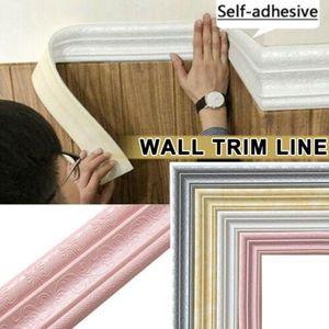 3D Foam Wall Stickers Waterproof Self-Adhesive Wallpaper Border Wall Decor Removable Sticker Trim Line Stickers Decorations