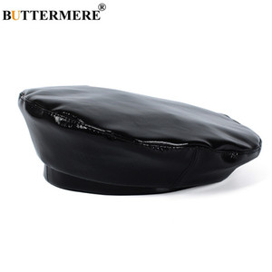BUTTERMERE Leather Woman Beret Black Vintage French Painter Hats Female Solid Casual Autumn Classic Artist Caps Berets Hat Lady 201201