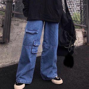 Bolsillo delantero de la carga alta cintura suelta recta de mezclilla pantalón mujer hombre calle streetwear novio Harajuku holgy casual pantalón pantalones vaqueros Corea1
