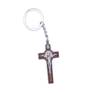 2021 New Wood Christian Jesus Cross Keychain Religious Key Ring Jewelry Bag Pendant Car Souvenirs Gift for Women Men