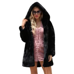 Lanshifei New Design Otoño Femenino imitación Piel Larga Parka Ladies 'Invierno Faux Piel Abrigo Cálido Chaqueta negra con capucha para mujeres