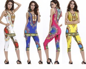 Hot Sale Summer Sexy Bodysuit Fashion Women Geometric Ethnic African Totem Printing Comfortable Elastic Vest + Pants Suit 6 Color