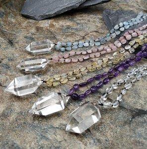 Natural Quartz Double Point Pendant Aquamarines Amethysts Rose Quartzs Stone Chips Beads Knot Handcraft Necklace M0043