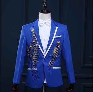 men suits designs masculino homme terno stage costumes for singers men flowers blazer dance clothes jacket formal dress punk