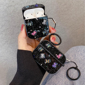 3D Butterfly Earphone Case with Keychain For AirPods 2 Pro 1 Cases Glitter Bear Shining Soft Bluetooth Headset Protective Cover