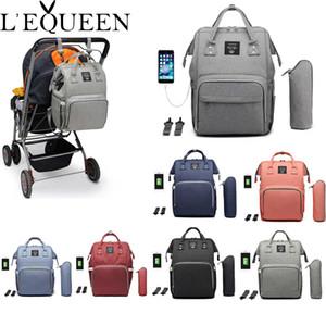 Lequeen USB Mumya Annelik Nappy Çanta Marka Büyük Kapasiteli Bebek Çantası Seyahat Sırt Çantası Tasarımcı Hemşirelik Çantası Bebek Bakımı Y200107