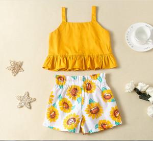 Kids gilr fashion summer clothing sets 2pcs set girls sleeveless tops T shirts+girls shorts baby girls suit set kids clothes outfit set suit