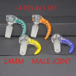 4 styles hook bowl glass horn bowl free shipping 14mm Male Joint Handle Beautiful Slide bowl