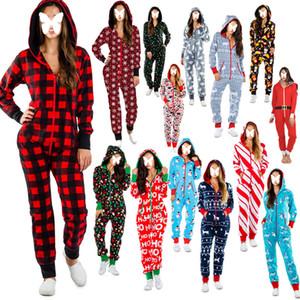 Mulheres nightgown christmas impresso pijama feliz feriado fino sexy halloween home desgaste home luva longa macacões adulto longo calça inverno