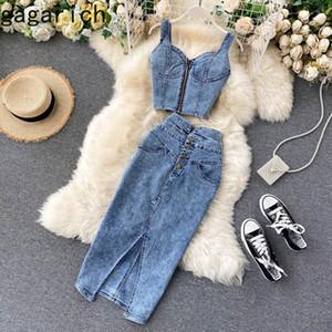 Gagarich Frauen 2 Stück Set Koreaner Stil Ins 2020 Neue Dame Sexy Kurze Camisole Hohe Taille Denim Rock Mode LJ201126
