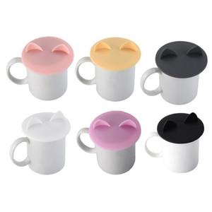 150 قطع جميل القط الأذن الغذاء الصف سيليكون غطاء كاب القهوة القدح كأس غطاء تسرب مقاومة الحرارة مختومة AHD3219