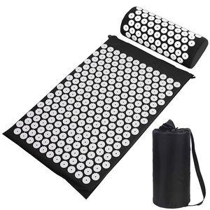 Shaki Yoga Mat Spike Acupuntura Mat Aplicador de Lyapko para Pescoço Massagem Pad Sensi Massager Almofada Acupressure Acupressure Travessure Tapete LJ201218