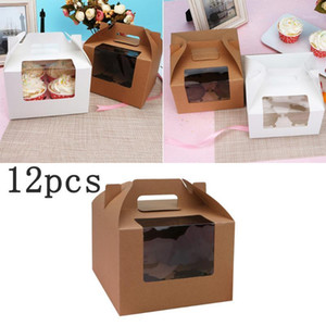 10pcs 4 Cavities Cup Cake Box With Window Paper Cupcake Box With Handle Insert Container Portable Dessert Carriers Wedding Party1