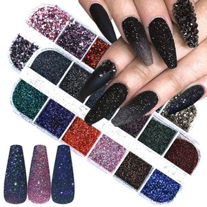 12 Grid Laser Nail Glitter Powder Gradient Holographic Flakes Chameleon Chrome Pigment Dust Shine Sequins Decoration