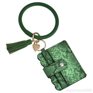 25 Colors Tassels Bracelets With Credit Card Wallet Leopard Bracelet Keychain Drip Oil Circle Bangle Chains Wristlet DHF1554