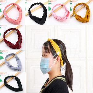 10 Colors Masks Hair Band Button Anti-Tight Face Mask Headband Twist Bow Headband Sport Ear Protector Headbands Women Party Favor db283
