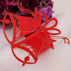New Fashion 100pcslot Party Supplies Laser Cut Christmas Bells Paper Napkin Rings for Wedding Party Decoration 7ZSH103