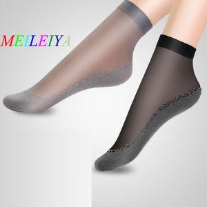 Meileiya 5 par / bolsa de alta calidad flores de mujer seda calcetines de verano suave katoon fondo antideslizante antideslizante calcetín