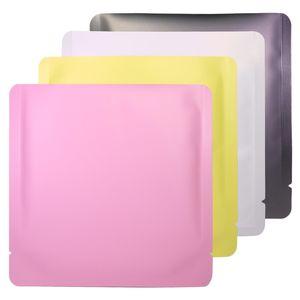 15x15cm DIGICET 컬러 화이트 / 옐로우 / 핑크 / 블랙 히트 씰링 알루미늄 호일 플랫 파우치 오픈 탑 패키지 가방 진공 파우치 EWC4135