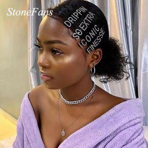 STONETFANS BLING RHINESTONE letra Pasadores de pelo Accesorios para las mujeres Custom Money Crystal Word Pein Clip Bride Boda Joyería Regalo