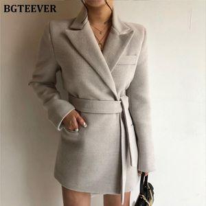 BGTEEVER CHIC LACE UP MUJER MANGULA FULLES TRPLE Blazers Elegante Oficina Desgaste Cinturón Femenino Jacket 2020 Outwear Solid Outwear