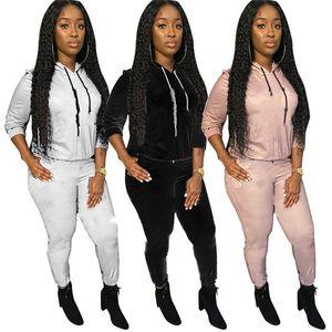 Womens Sportswear Fall Winter Langarm Hoodie Outfits 2 Stück Set Trainingsanzug Pullover + Legging Frauen Kleidung Jogger Sportsuit Neue KLW5325