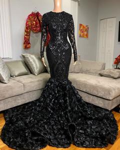 New Long Black Girl Prom Dresses 2021 African Sexy Sequin Top 3D Flowers Long Sleeve Mermaid Party Dress vestidos de fiesta