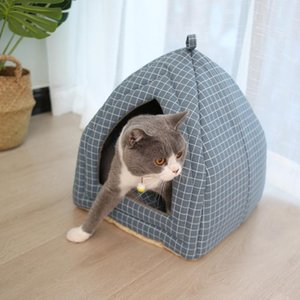 Foldable Cat Bed Mat Soft Shape Dog Kennel Winter Pet Cave House Warm Sleeping Cats Nest Washable Beds
