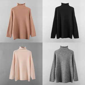 Hirsionsan Warm Mohair Sweater Women 2020 New Soft Crimped Neckline Cashmere Pullovers Korean Coffe Khaki Knitted Female Tops J1202