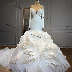 Stain Mermaid Wedding Dresses Off Shoulder Long Sleeves Cascading Ruffles Sweep Train trumpet Wedding Gowns vestido de novia