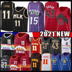Vince 15 Carter Pascal Trae 43 Siakam 11 Giovane Jersey di pallacanestro Jamal Nikola Murray Jokic 27 Men's Youth Kid's Jerseys 2021 Nuovo nero rosso