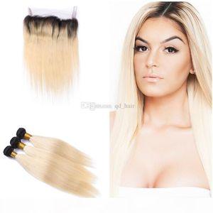 360 кружевной полосы Frontal с темными корневыми пачками волос прямые девственницы человеческие волосы Bundles # 1b 613 с 360 полным кружевом фронтальной 13x4x2