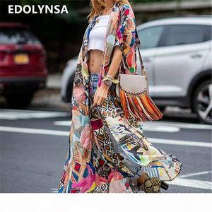 2020 Bohemian Printed Half Sleeve Summer Beach Wear Long Kimono Cardigan Cotton Tunic Women Tops Blouse Shirt Sarong plage N796 CX200615