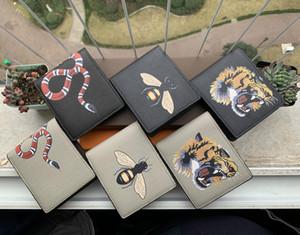 Uomini di alta qualità Animale Breve Portafoglio Leather Black Snake Tiger Bee Portafogli Donne Polpetti da portafoglio Borsa a portata di mano con confezione regalo