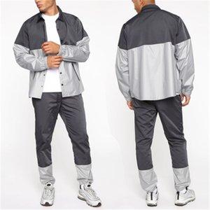 Erkek Açık Spor Setleri Moda Eğilim Uzun Kollu Hırka Düğme Ceketler Tops Pantolon Takım Elbise Tasarımcı Erkek Bahar Rahat Hızlı Kuru Eşofman