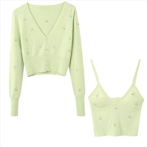 2020 sunmmer new womens Embroidery Green Cropped knit cardigan Casual two pieces set fashion streetwear sexy female crop tops