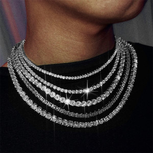 AGLOVER New Hip Hop Necklace 3mm-6mm Silver Gold 1 Row AAA Zircon Chain Iced Out Crystal Necklace For Mens Woman Wedding Jewelry 201218