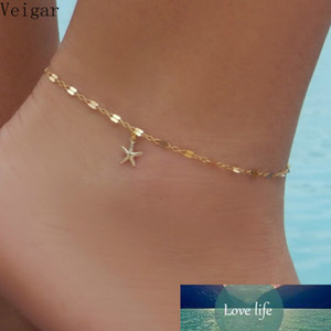 Gold Color Starfish Anklet Bracelet on The Leg Fashion Summer Beach Foot Anklets Jewelry Women Ankle Chain Enkelbandje