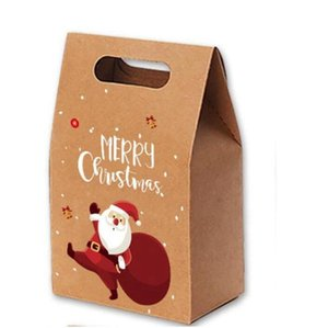 Рождественские подарочные пакеты Xmas Vintage Kraft Paper Apples Candy Case Party Party Party Bag Duncled Пакет Украшение Партии Факультет Подача AHA2858