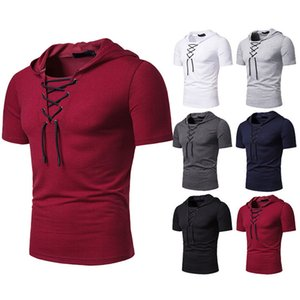 Herren Bandage Tshirts Sommer Lose Massivfarbe Pullover Mit Kapuze Tops Teenager Mann Mode Kurzarm Casual Tshirts